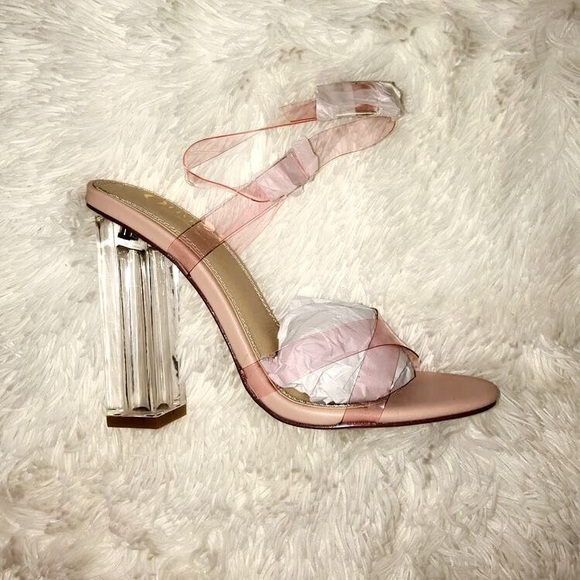 34b82973848 Size 6 pink/clear heels! NWT
